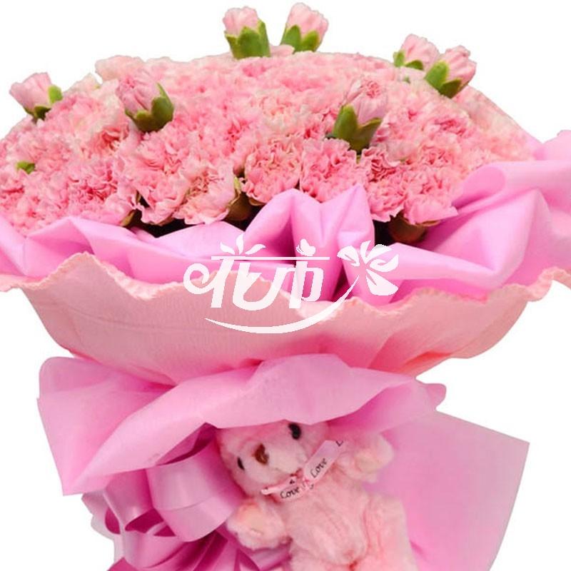 99枝粉色康乃馨 ,粉色皱纹纸围边