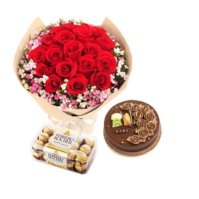 你是我的阳光组合(鲜花+巧克力+蛋糕) 8寸蛋糕