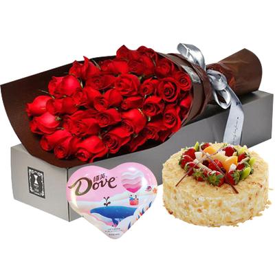 爱如潮水(鲜花+巧克力+蛋糕) 8寸蛋糕