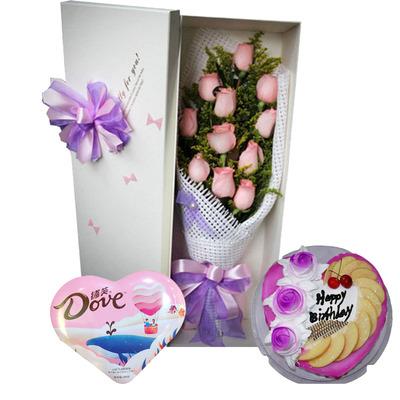 一见钟情(鲜花+巧克力+蛋糕)