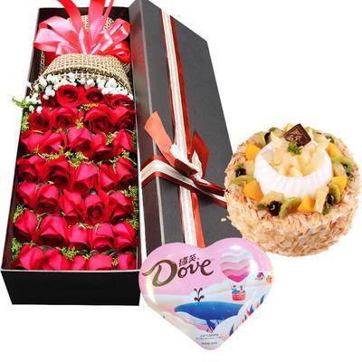 如此倾心(鲜花+巧克力+蛋糕) 8寸蛋糕