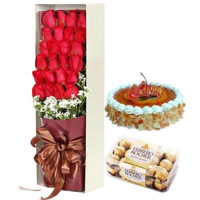 夢中人(鮮花+巧克力+蛋糕) 8寸蛋糕