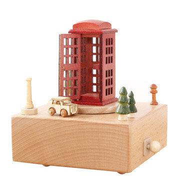 复古电话亭八音盒