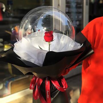 告白气球-单支红玫瑰花束