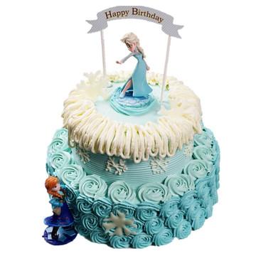 冰雪奇缘双层蛋糕 12寸下8寸上