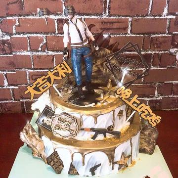 绝地求生生日蛋糕(双层)A款 14寸下10寸上