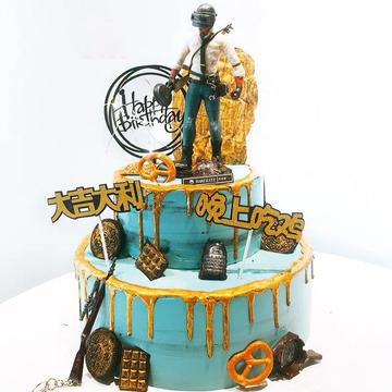 绝地求生生日蛋糕D款 12寸下8寸上