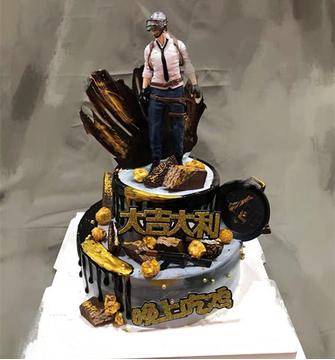 绝地求生生日蛋糕(双层)C款 12寸下8寸上
