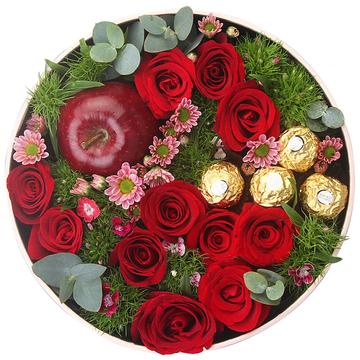 欢乐圣诞节-11朵红玫瑰+苹果礼盒