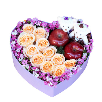 平安夜-玫瑰+苹果心形礼盒